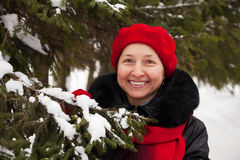 Mature woman in winter Stock Images