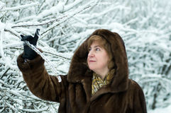 Mature woman in a winter forest Royalty Free Stock Photos