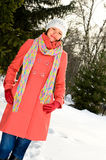 Mature woman in winter park Royalty Free Stock Photos