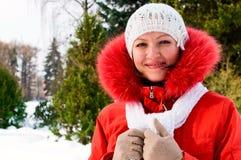 Mature woman in winter park Stock Photos