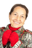 Mature woman in wintry clothes Royalty Free Stock Photography