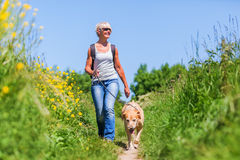 Mature Woman With Dog Taking Hiking In The Country Royalty Free Stock Images
