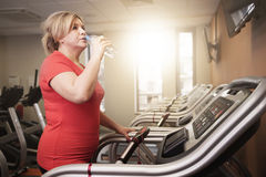 Mature woman working out at the gym. Woman drinking water during the running at the gym Stock Images