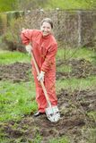 Mature woman working with shovel Stock Photography