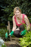 Mature woman works in her garden Royalty Free Stock Photography