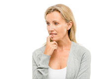 Mature woman worried about the future isolated on white backgrou Stock Image