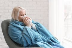 Mature woman wrapped in blanket suffering from cold. At home stock photography