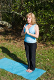 Mature Woman Yoga - Breathing Stock Photography