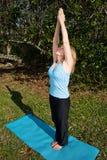 Mature Woman Yoga - Salute to Sun Royalty Free Stock Photos
