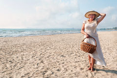 Mature women. Portrait of mature woman enjoying her vacation at the beach Royalty Free Stock Photo