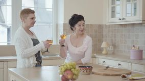 Mature women communicating at home standing near modern table in the kitchen. One lady says a toast with a genuine smile. Three mature women communicating at stock video footage