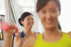 Mature women lifting weights in the gym Royalty Free Stock Image