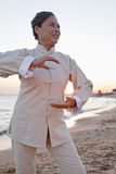 Mature women practicing Taijiquan, China Royalty Free Stock Images