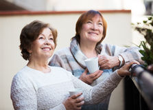 Mature women talking at patio Royalty Free Stock Photography