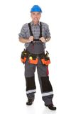 Mature Worker Man With Toolbelt Royalty Free Stock Photography