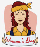 Mature Worker Redhead with a Placard with Women's Day Text, Vector Illustration Stock Photos