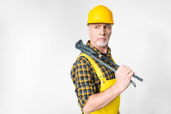 Mature workman in hard hat Stock Photo