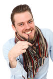 Mature young man in a blue shirt and scarf Stock Image