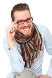 Mature young man in a blue shirt and scarf Royalty Free Stock Images