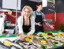 Mature and young sellers posing. In fish section of market Stock Images