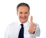 Matured businessman gesturing thumbs-up Stock Photo