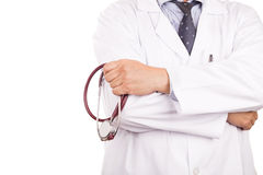 Matured, confident Asian male medical doctor with stethoscope, w Royalty Free Stock Photo