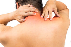 Matured man with neck and shoulder pain Royalty Free Stock Images