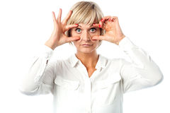 Matured woman with eyes wide open Royalty Free Stock Photo