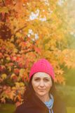 Matured woman in the forest Royalty Free Stock Photography