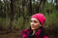 Matured woman in the forest Royalty Free Stock Photo