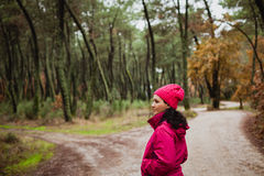 Matured woman in the forest stock image