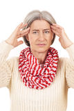 Matured woman with strong headache Stock Photos