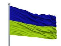 Maturin City Flag On Flagpole, Venezuela, isolato su fondo bianco illustrazione vettoriale