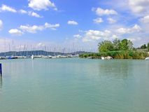 Matutinal harbor. Balaton still life on rise of day. Balaton the hungarian sea Stock Photo