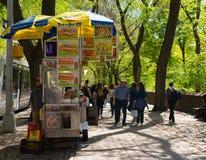 Matvagn vid Central Park Arkivfoton