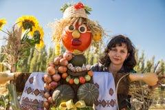 MATYRSKY, RUSSIA - September 23, 2017: The Pumpkin Porridge Festival. Scarecrow from a pumpkin Royalty Free Stock Photos