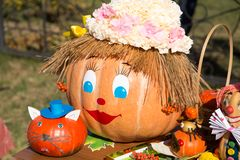 MATYRSKY, RUSSIA - September 23, 2017: The Pumpkin Porridge Festival. Scarecrow from a pumpkin Royalty Free Stock Photography