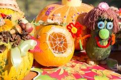MATYRSKY, RUSSIA - September 23, 2017: The Pumpkin Porridge Festival. Scarecrow from a pumpkin Stock Images