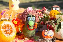 MATYRSKY, RUSSIA - September 23, 2017: The Pumpkin Porridge Festival. Scarecrow from a pumpkin Stock Photos
