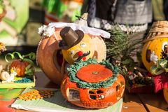 MATYRSKY, RUSSIA - September 23, 2017: The Pumpkin Porridge Festival. Scarecrow from a pumpkin Royalty Free Stock Image