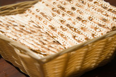 Matza bread. In a basket for passover Stock Photos