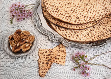 Matza bread for passover celebration Stock Photos