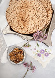 Matza bread for passover celebration Royalty Free Stock Images