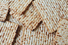 Matza and Cover for Jewish Holiday Passover. Traditional Jewish Matzo sheets on a Passover Seder table. Passover is a Jewish holiday festival. It commemorates Royalty Free Stock Photo