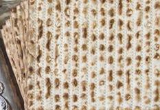 Matza - Jewish Passover bread. CloseUp-flat lay  Stock Images