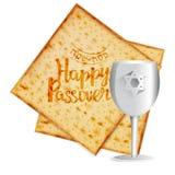 Matza réaliste de vecteur avec la tasse de kiddush pour la pâque juive illustration stock