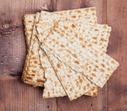 Matza on a wood background Royalty Free Stock Photos