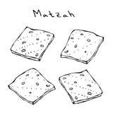 Matzah或未发酵的面包, Pesach的,犹太假日未膨松面制面包逾越节,隔绝在白色背景,设计元素 皇族释放例证