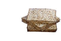 Matzah犹太传统逾越节未膨松面制面包 Pesach庆祝标志 被隔绝的图象 免版税库存照片