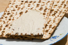 Matzah. Still life of matzah with hummus stock image